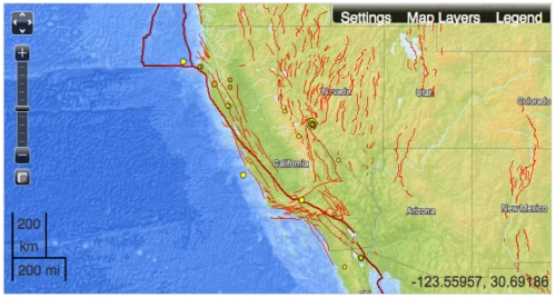 California in USGS map of Faultlines