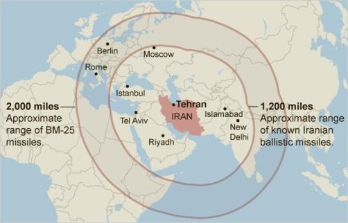 Map - Iranian Missile Range(1)