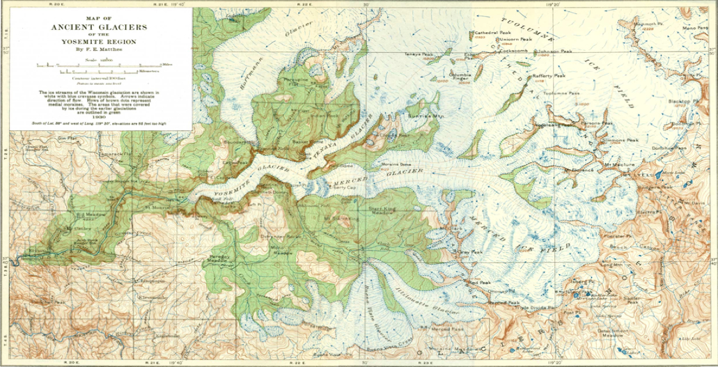 Matthes' Map of the Ancient Glaciers of Yosemite Region
