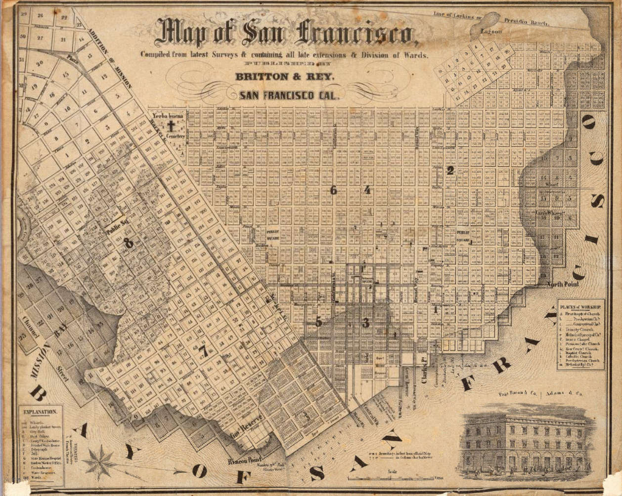 san Francisco 1852 Britton & Rey 1:18,100