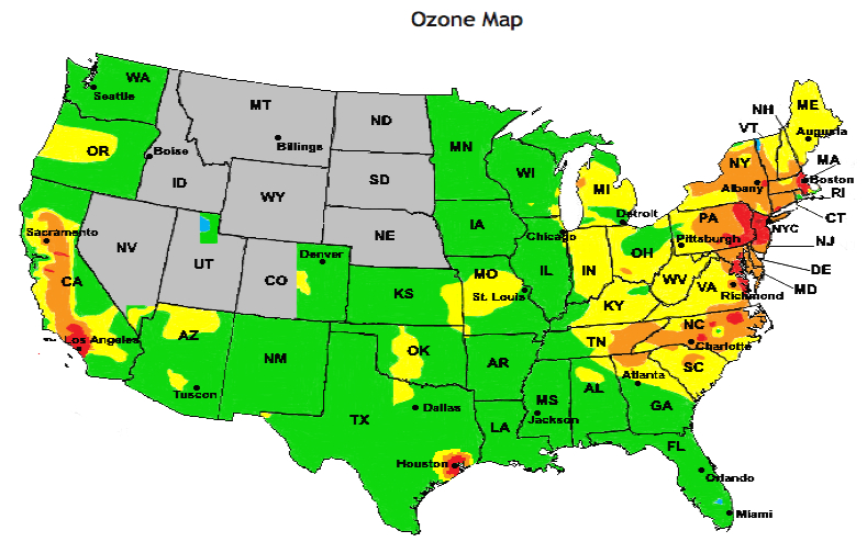 National US Ozone Map