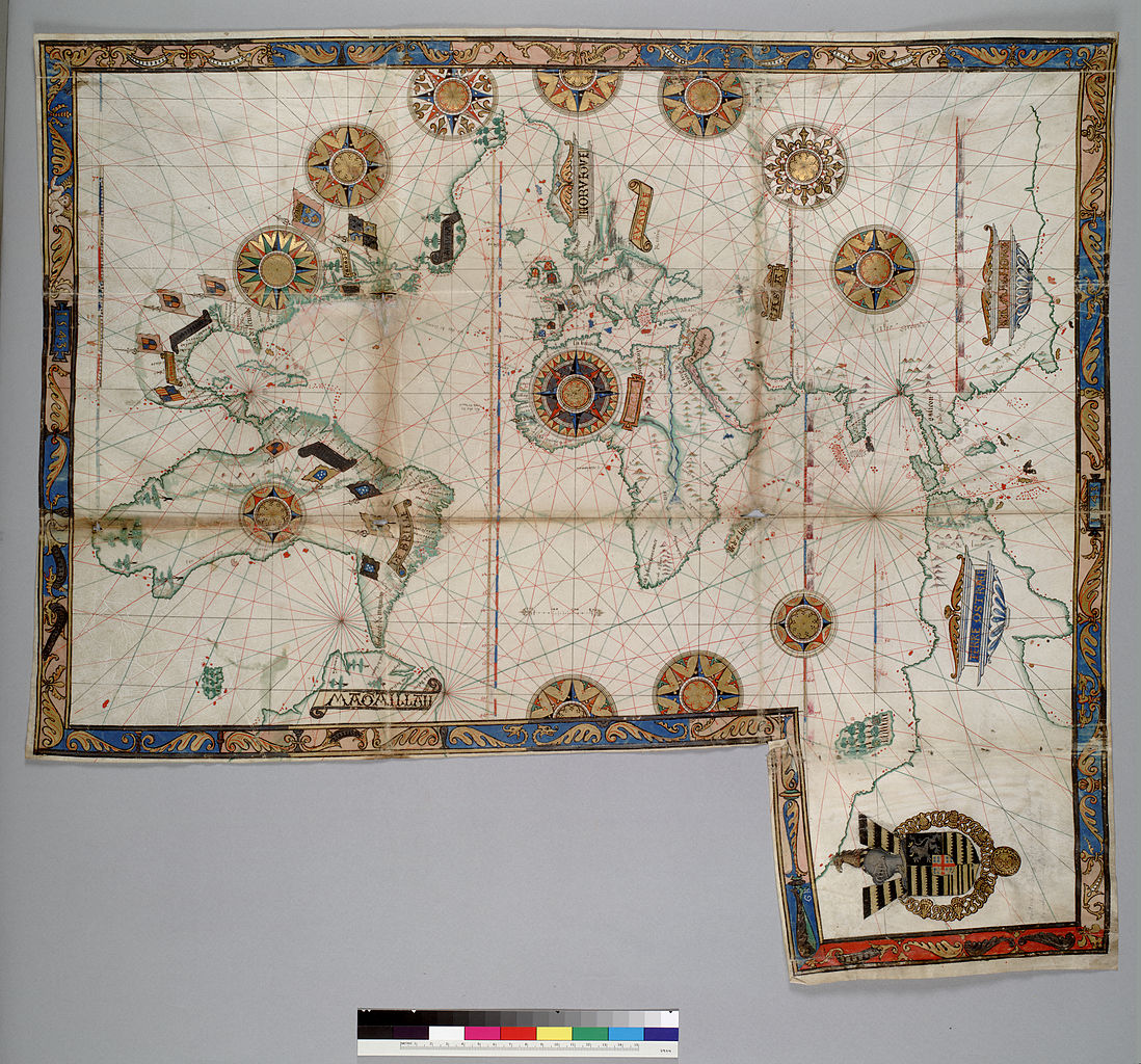 1098px-Guillaume_Brouscon._World_chart,_which_includes_America_and_a_large_Terra_Java_(Australia)._HM_46._PORTOLAN_ATLAS_and_NAUTICAL_ALMANAC._France,_1543