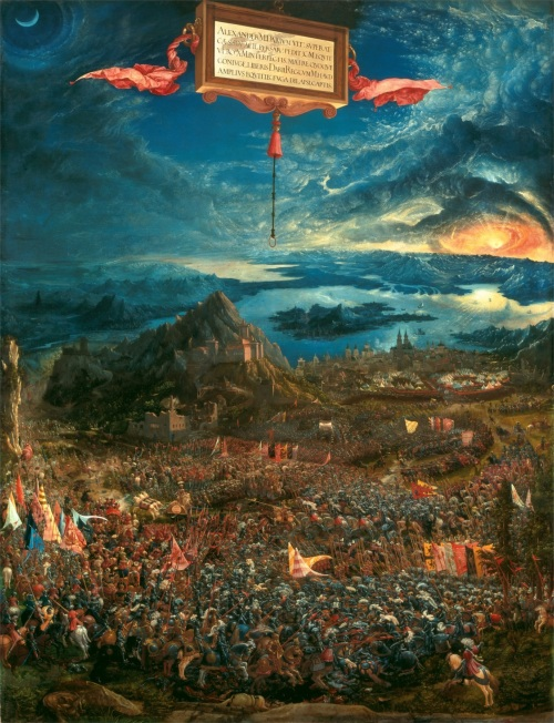 The Battle of Alexander at Issus. Oil painting by the German artist Albrecht Altdorfer (1480-1538). 1529.