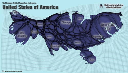 Cartogram of US popation on grid