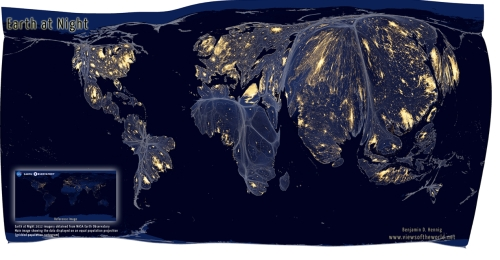 Earth at Night--NASA photo and equal-pop projection
