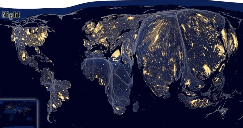 Redistribution of world at night by Population
