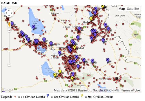 Baghdad Map of Civilian Deaths--Mike Brennad (Drexel)