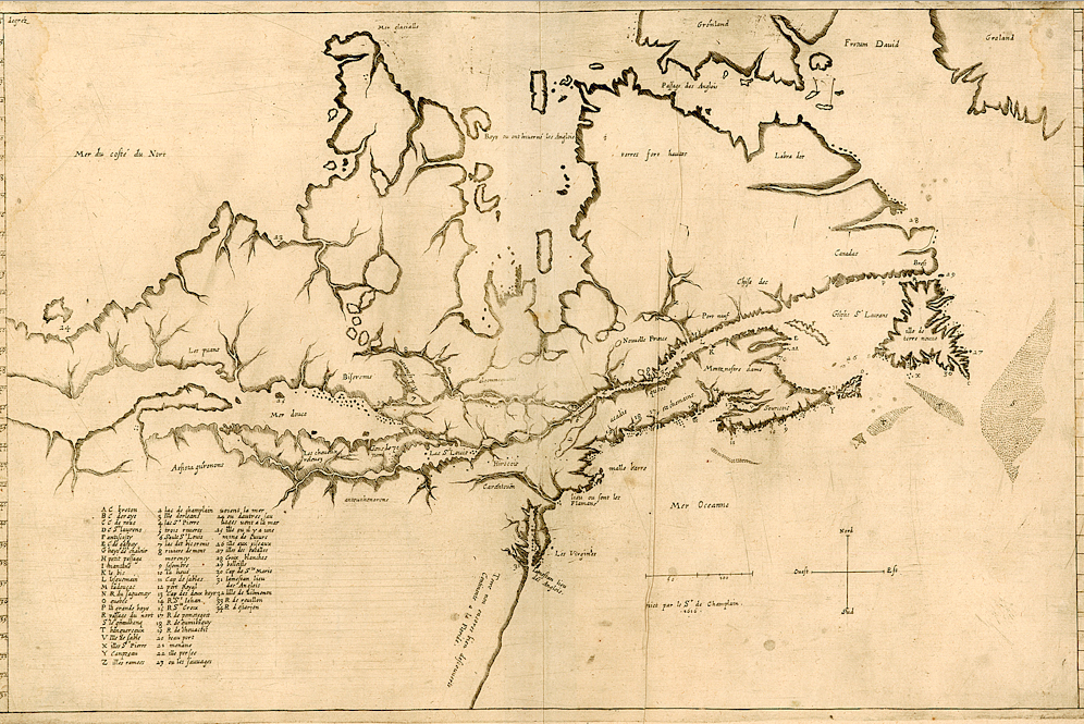 Champlain ms map La Nouvelle France 1616, pre Voyages 1619