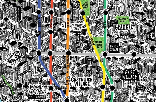 Close-up of New York map by Jenni Sparks