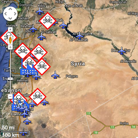Air Bases and Chemical Sites in Syria