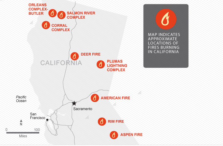 Fires in NoCal Cal Dept Forestetry and Fire Protection (CAL FIRE), National Climactic Data Center, USA TODAY research 8:25