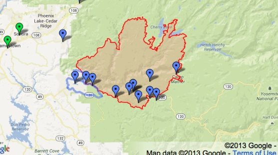 Footprints of Actively Burning Fires--Google Map