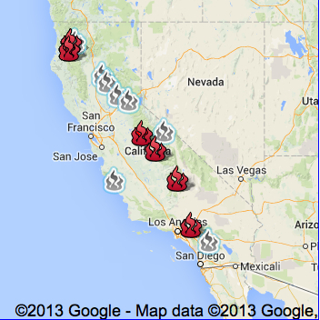 Generic Google Map of Wildfires CA