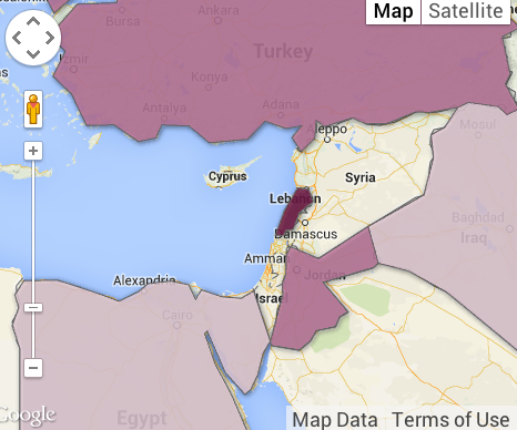 map refugees Syria by 2013 3.5 mill