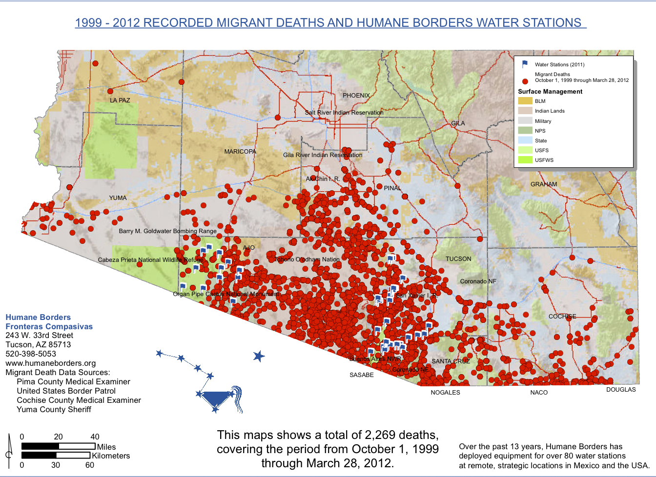 Migrant Deaths And Water Stations 1999 2012