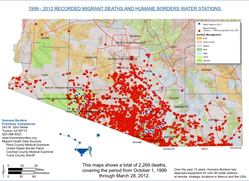 Migrant Deaths and Water Stations, 1999-2012