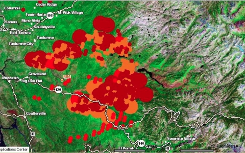 Rim Fire latest MODIS map aug 25