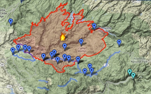 Yosemite Fire Footprint August 28