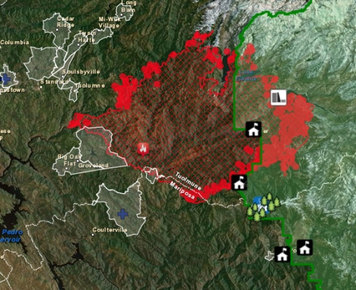 Yosemite Fire Map August 28
