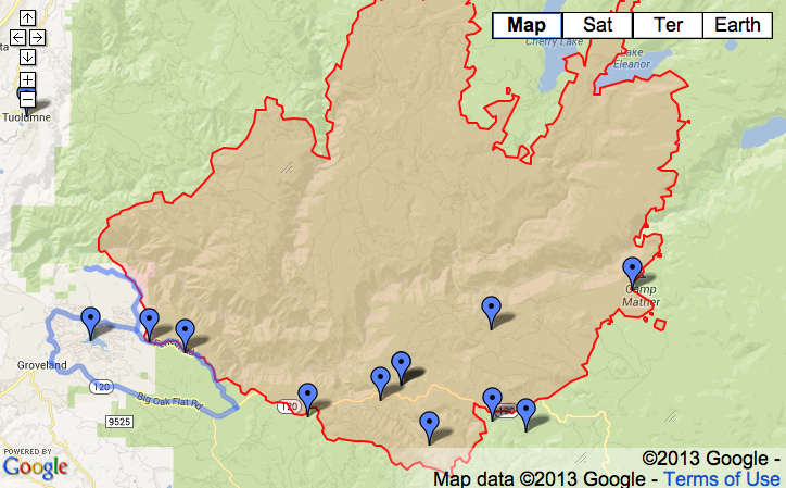 Fire Map Yosemite.Mapping Yosemite Rim Fire Musings On Maps