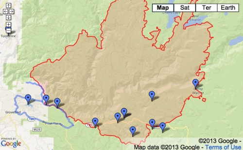 Yosemite Fire Map LA Times