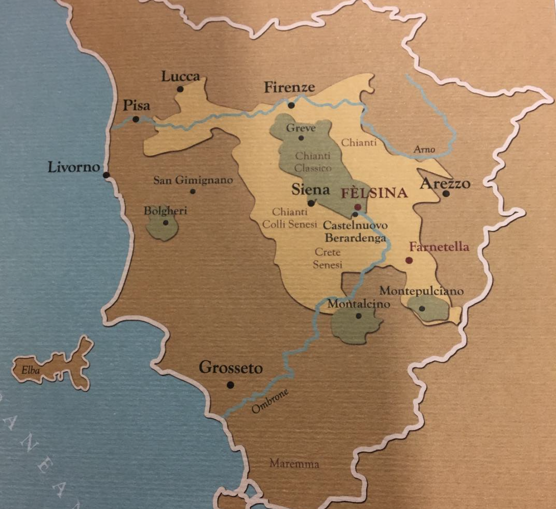 DOC map chianti, Felsina, Chianti Classico, chianti colli senesi.png
