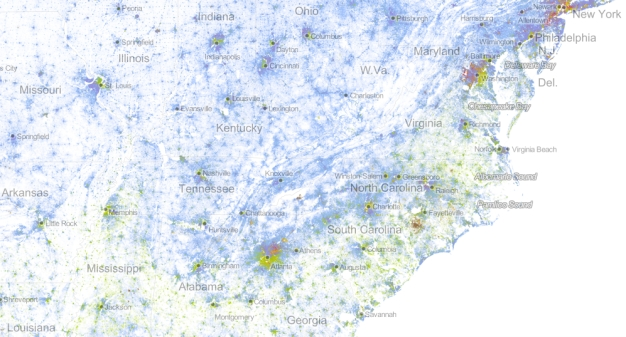 Eastern Seabord and MD Dot Map