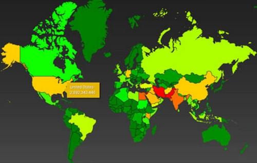 Global Heat Map--NSA coverage