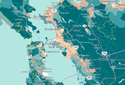 oakland's Income in bay Area