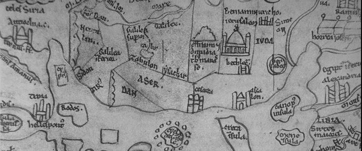 Detail of Middle East:Holy Land on Mainz world map c. 1110