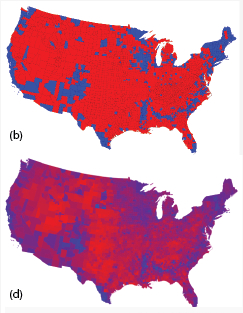 votes-  red v blue, by county and interest level