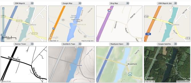 Map Compare-  Brookfield VT x 8