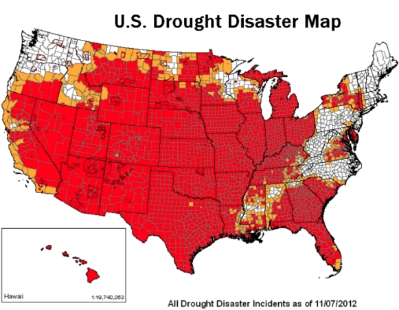Primary and Contiguous Counties of Drought, USDA FSA