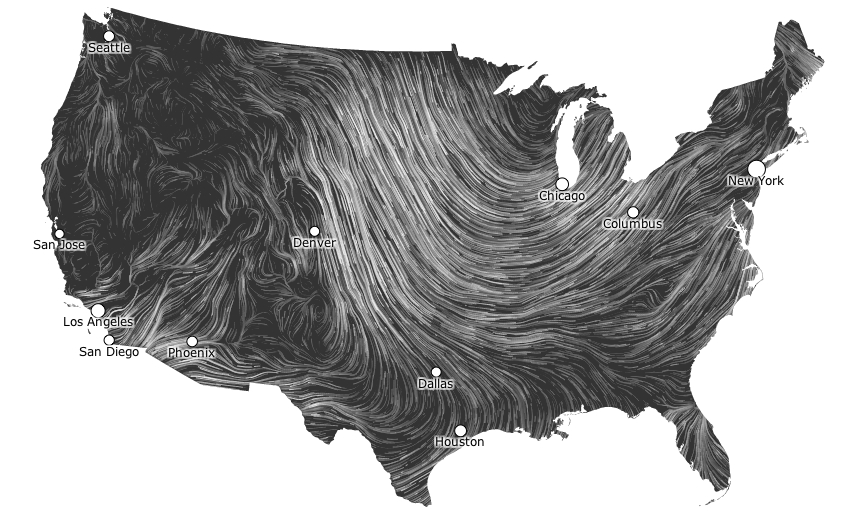 D Musings On Maps - Wind map of the us