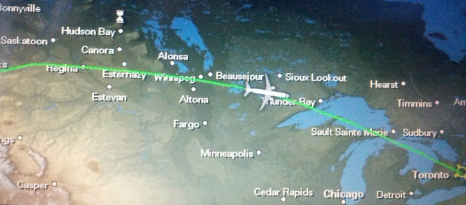 Flying over Thunder Bay to Toronto