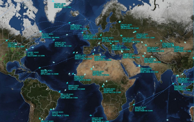 Global interconnectivity of Fligths on Airbus