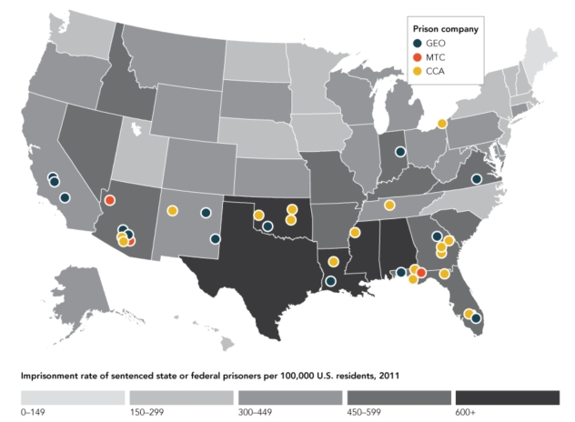 Private prisons:imprisonment rate