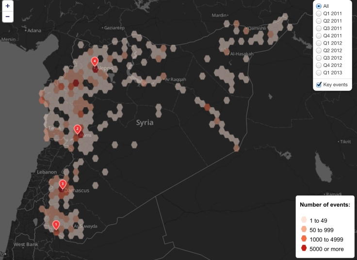Aggregate Civil Conflict mapped in Syria