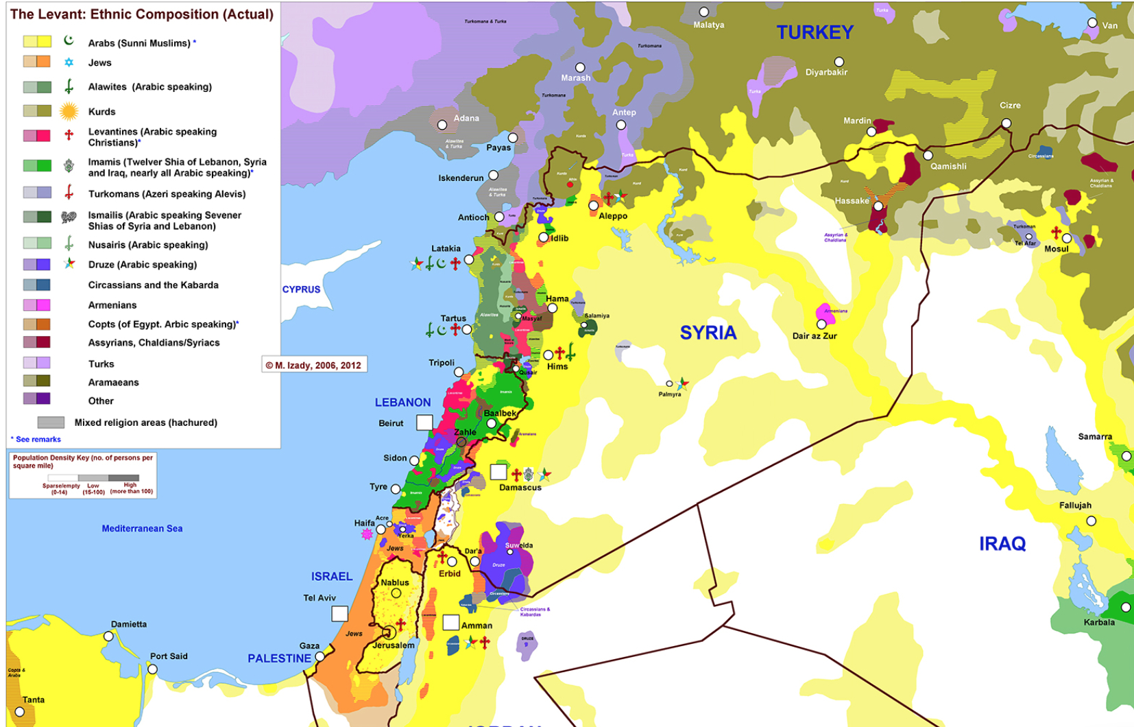Levant Region Map Levant Map of Ethnicities