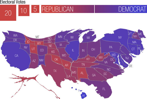 The United States, with state sized based on electoral votes.