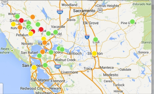 outage map pg&e after quake