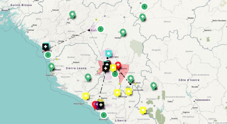 HUOSM ebola mapped in March 2014