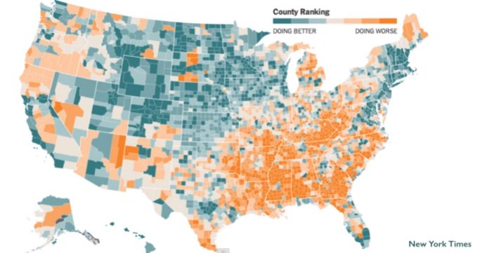 County Ranking of Happiness--Education, unemployment, disability, income, life expectancy, obesity