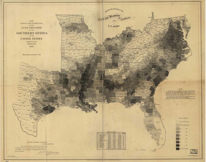 1861 slave population map