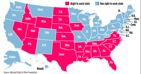 %22Right%22 to Work Map