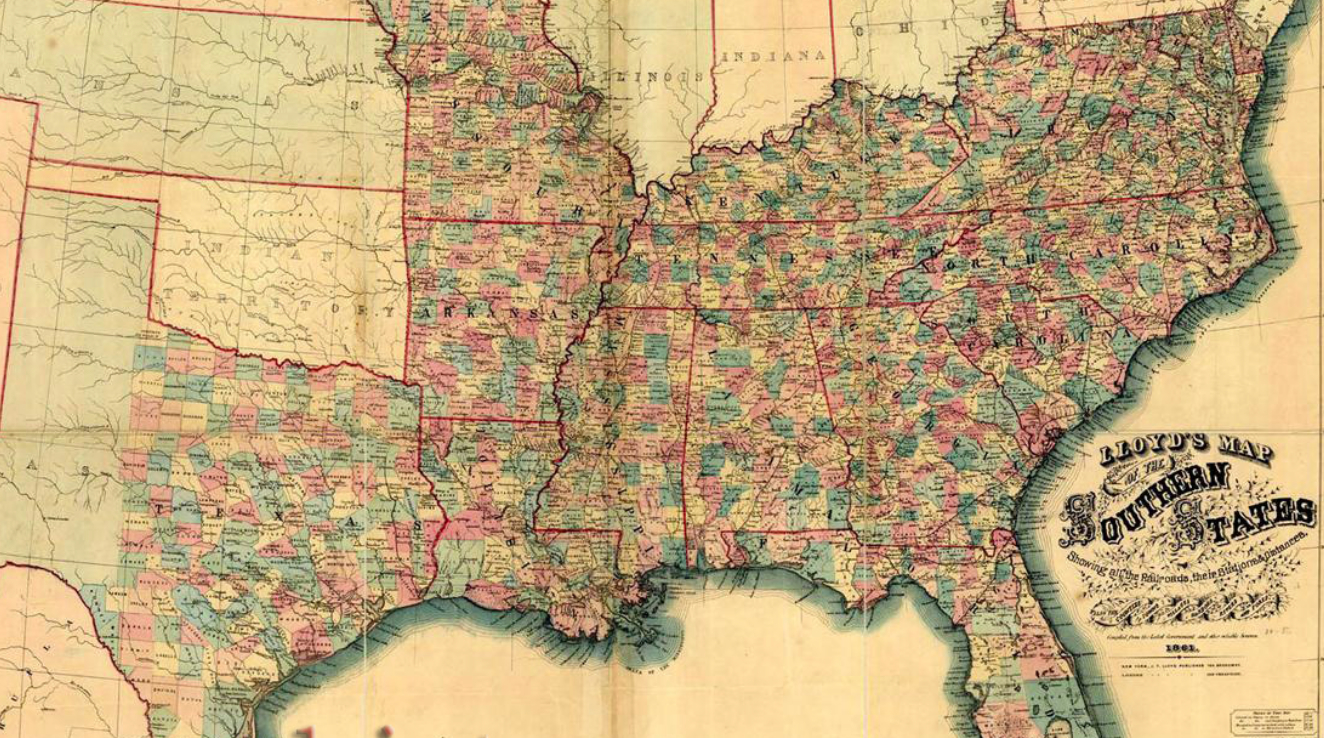 Map of the southern States 1863