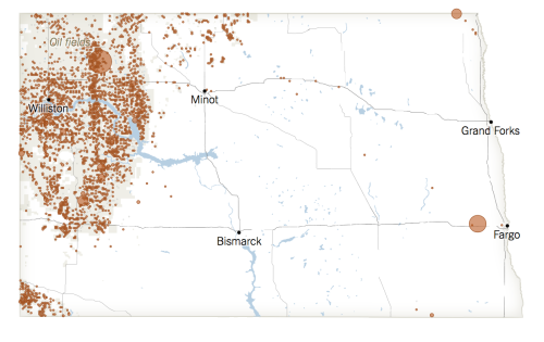Oil spills, contained and not,in ND