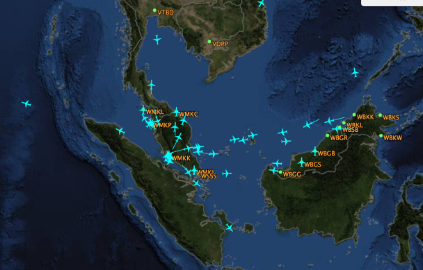 flight aware flights of airasia over archipelafgo jan 2 10-20 am