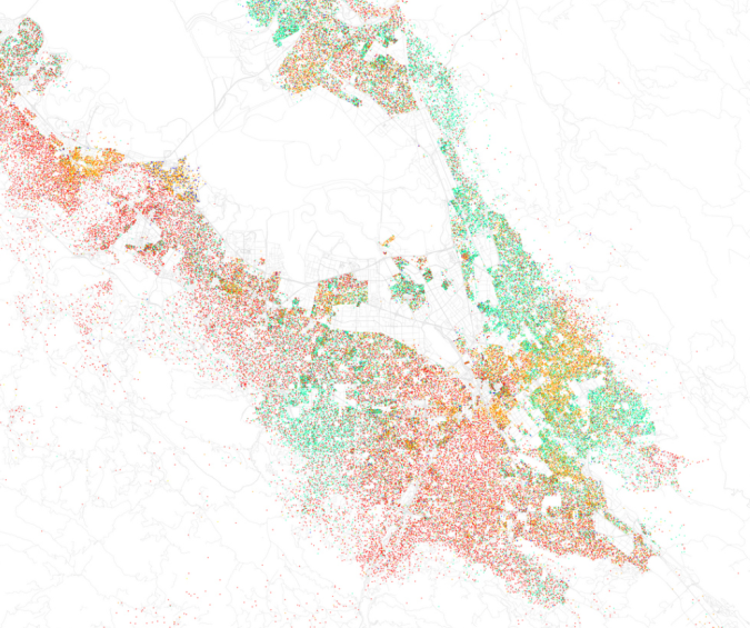 Race and Ethnicity in San Jose--Green asian, red white, blue black, yellow other