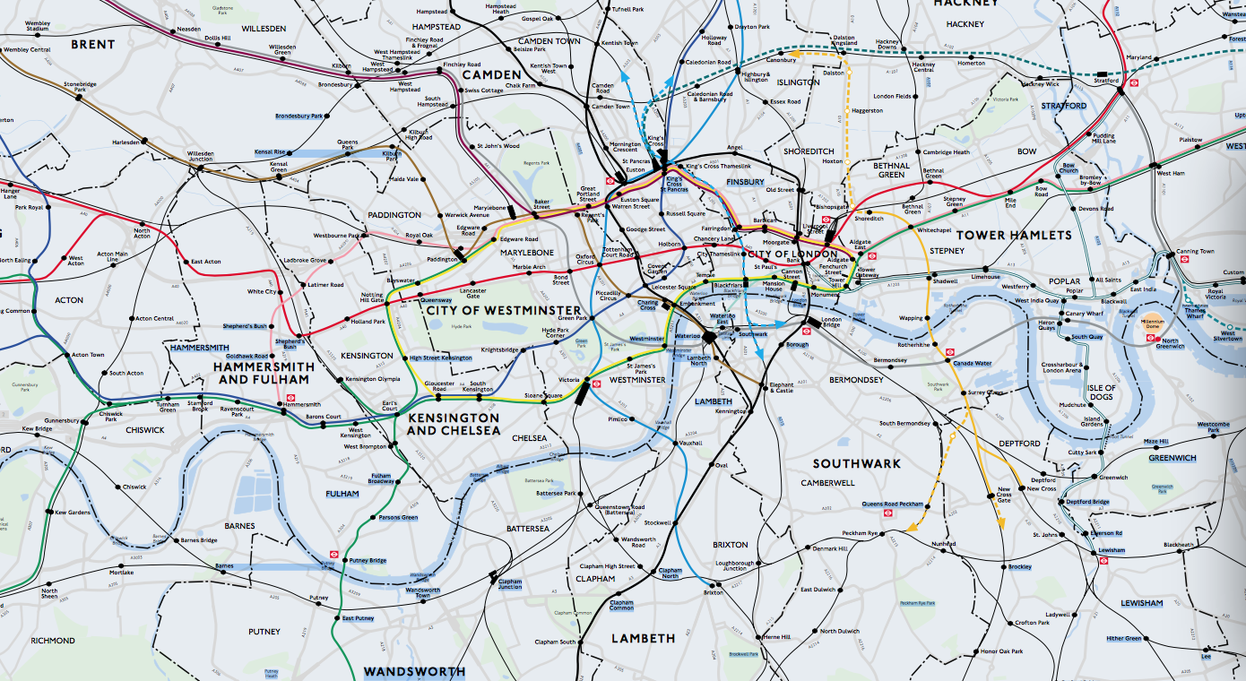 Beck's lines mapped on London